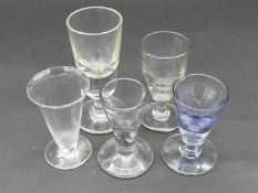 A collection of 18th and 19th century glasses. Including three 18th century deceptive toast master's