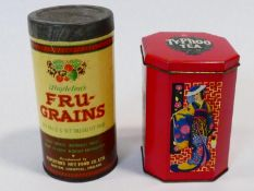 A vintage 1970's Ty-phoo tea Japanese design tin along with a 1920's Mapletons Fru Grains cereal