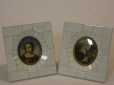 A pair of 19th century miniature watercolours, medieval style portrait studies in gilt metal and