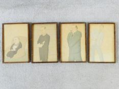 A set of four oak framed and glazed prints after Max Beerbohm from the series 'Heroes and Heroines
