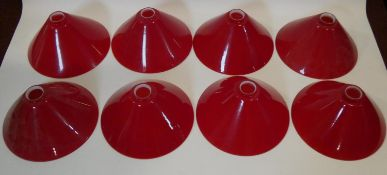 A set of eight deep red vintage glass conical lamp shades. 16x30cm