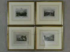 Four framed and glazed antique hand coloured engravings by Tombleson of Windsor Bridge, Richmond