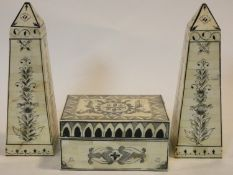 An Eastern bone lidded box with all over painted decoration and a pair of similar obelisks, H.11 W.