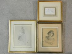 A collection of three framed and glazed pencil sketches, various subjects, unsigned. 34x40cm