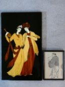 A Indian wooden and bone inlaid picture of a young couple in traditional dress along with a framed