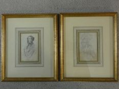 A pair of 19th century gilt framed and glazed pencil drawings, female portrait studies. 26x32cm