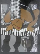 A framed and glazed print, woman at a piano in Art Deco style. H.54xW.79cm