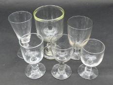 A collection of 18th and 19th century glasses. Including five glass rummers and a conical gin glass.