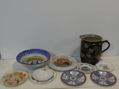 A collection of antique ceramics. Including two Oriental hand painted plates, a Hovis plate, various