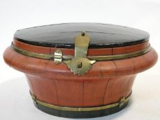 An Oriental wooden lacquered lidded wedding/rice box with brass banding and catch. H.15xW.31xL.31cm