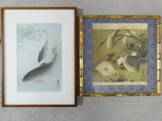 Two framed and glazed Japanese prints. One of koi carp and one of a pair of quails. Both with