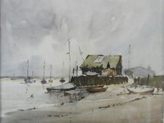 Roy Seville (1911-1993) a framed and glazed watercolour, moored sailing boats, signed. H.48xW.43cm