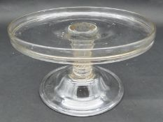 A Georgian glass tazza, circular tray-top, spiral-twist and knopped column on bell-shaped foot