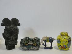A Tang style head of a warrior, a miniature Tang style horse, a lidded Chinese ginger jar and a