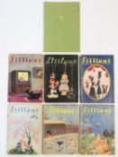A collection of 1946 Lilliput magazines and a book of Swedish tourist collector's stamps. 21x15cm
