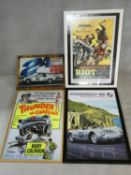 A collection of four framed vintage style film and car advertising posters. 78x108cm (largest)