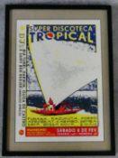 A Super Discoteca Tropical Brazil gicleé print by Lewis Heriz, framed and glazed. 73x53cm