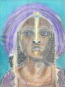 A framed and glazed pastel of a tribal woman in a traditional head dress. 63x53cm