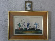 A 20th century framed and glazed rice paper watercolour, rice pickers, together with a 19th