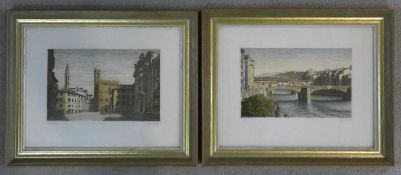 Two gilt framed and glazed hand coloured limited edition signed prints, one of a bridge in