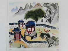 A framed and glazed limited edition signed print by Korean Artist (Kim Ki Chang 1914 - 2001),