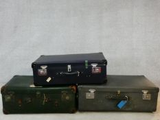 A collection of three various vintage cases. H.32 W.84 D.50cm