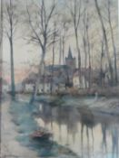A framed and glazed watercolour of a village river scene, titled 'Emael', signed Jos Lambresier.