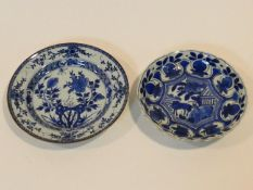 Two 18th century Chinese blue and white export ware plates. One with a stylised floral design and