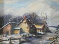 A gilt framed oil on canvas, Dutch style winter scene, signed bottom left. H.53xW.61cm