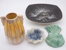 A mid century vintage Thanet Pottery bowl with bamboo decoration, a Sylvac drip glazed bulbous vase,