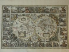 A large gilt framed and glazed 16th century style double hemisphere map of the world. H.97 W.130cm