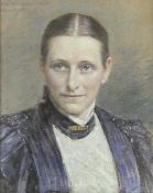 Clara Wagner Grosch (1863-1932) a framed and glazed pastel portrait study, signed and dated. H.