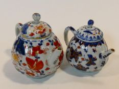 Two 18th century Chinese porcelain Imari hand painted teapots. One with a stylized floral and