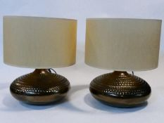 A pair of bronze textured ceramic vintage style table lamps. H.44xD.36cm