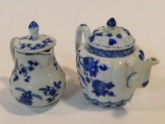 Two 18th century blue and white Chinese porcelain export ware pieces. A floral design teapot with