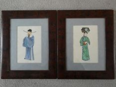 A pair of 20th century rice paper watercolours, man and woman in typical Chinese garments, unsigned.