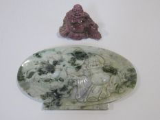 A Chinese rhodonite carved Buddha and a green hardstone lucky bat with carved Buddha. H.29cm