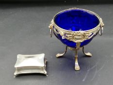 A blue velvet lined Victorian cushion shaped sterling silver ring box, hallmarked: HWLd for Henry