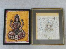 A framed and glazed batik painting of Buddha and a framed and glazed painting on parchment of