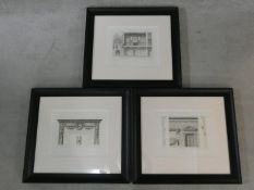 A set of three framed and glazed prints, Louis XVI architectural studies. H.66 W.73cm