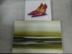 Two contemporary unframed oils on canvas, a seascape and a study of shoes, indistinctly signed and