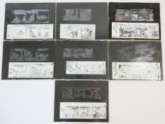 A collection of seven original hot metal printing plates and their prints for various newspaper