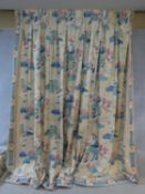 A pair of Chinese style lotus flower design silk mix lined curtains. 235x175cm