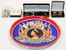 A collection of vintage jewellery and a royal memorial tray. Jewellery includes a pair of white