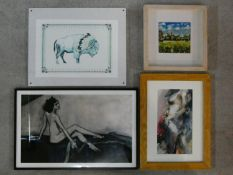 A framed oil on board, Impresionist style landscape and three framed and glazed prints. 41x62cm (