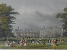 A framed and glazed antique hand coloured engraving of Kensington Palace. Engraved for 'Mighty