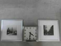 A pair of framed and glazed photographic prints of London in the 1940's and an Art Deco style