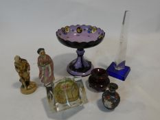 A Victorian coloured glazed ceramic comport, a modernist design illusion cut paperweight and a