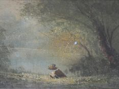 An early 20th century giltwood framed oil on board, pond fishing by a forest, indistinctly signed.
