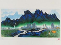 A framed and glazed limited edition signed print by Korean Artist (Kim Ki Chang 1914 - 2001), titled